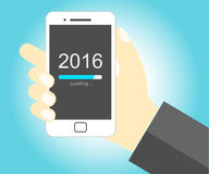 Smartphone with New Year 2016 loading. Hand holding smartphone with New Year 2016 loading progress bar - EPS Vector Royalty Free Stock Photo