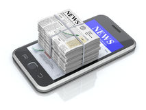 Smartphone and newspapers Stock Photography
