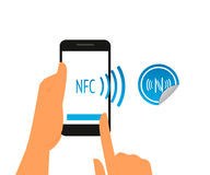 Smartphone with nfc function and mobile tag Stock Photography
