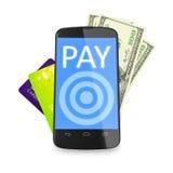 Smartphone, notes du dollar et cartes de crédit pour le paiement mobile Images stock