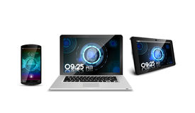 Smartphone, o portátil e a tabuleta da impressão digital do conceito isolaram o fundo branco ilustração royalty free