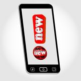 Smartphone - objeto com o emblema novo representado como a marca de exclamação vermelha com a inscrição nova Imagem na luz - back ilustração royalty free