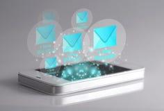 Smartphone och nya meddelandesymboler Royaltyfri Bild