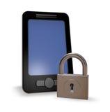 Smartphone och padlock royaltyfri illustrationer