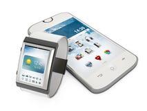 Smartphone och smartwatch som isoleras på vit bakgrund Royaltyfri Fotografi
