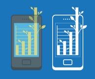 Smartphone och symbol av tillväxt Arkivbilder