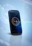 Smartphone och tekniskt avancerad bakgrund Royaltyfri Fotografi