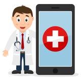 Smartphone och vit manlig doktor stock illustrationer