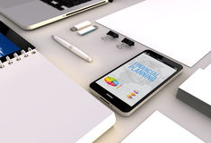 Smartphone office financial planning Royalty Free Stock Images