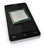 Smartphone. One smartphone with an electronic chip (3d render Royalty Free Stock Photo