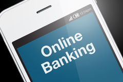 Smartphone with online banking icon on dark background. Royalty Free Stock Photos