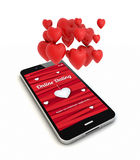 Smartphone online dating render with hearts in the air Royalty Free Stock Photography