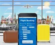 Smartphone online flight booking app in airport Stock Images