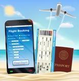 Smartphone online flight booking ticket passport Stock Photos