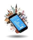 Smartphone online flight booking world landmark Royalty Free Stock Image
