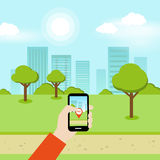 Smartphone Online Geolocation Game Royalty Free Stock Image