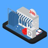 Smartphone with online laundry service with equipment washing machine. Mobile phone 24 hours open app. Telephone Cleaning company support center vector illustration