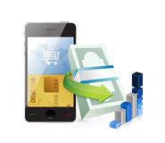 Smartphone online shopping concept Stock Images