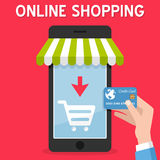 Smartphone Online Shopping Credit Card Stock Photo