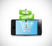 Smartphone online shopping sign illustration Royalty Free Stock Photo