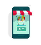 Smartphone online store vector, concept of e-commerce internet shop showcase, ecommerce Stock Photography