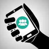 Smartphone-ontwerp, contact en technologieconcept, editable vector Stock Fotografie