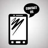 Smartphone-ontwerp, contact en technologieconcept, editable vector Royalty-vrije Stock Afbeelding