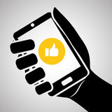 Smartphone-ontwerp, contact en technologieconcept, editable vector Royalty-vrije Stock Afbeeldingen