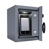 Smartphone in an open metal safe Royalty Free Stock Photo
