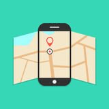 Smartphone with opened map isolated on green. Background. concept of finding the right place. flat style design trendy modern vector illustration Royalty Free Stock Images