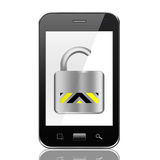 Smartphone with Opened Padlock icon ,smart phone on White backg Royalty Free Stock Images