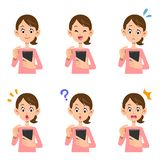 Smartphone operation female facial expression. The 6 images of Smartphone operation female facial expression and poses stock illustration