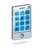 Smartphone with options, cell phone isolated on white, vector il. Lustration Stock Photo