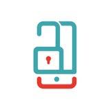 Smartphone otwiera parawanowego czerwieni i błękita wektor Obrazy Stock