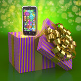 Smartphone out of a gift box Royalty Free Stock Photography