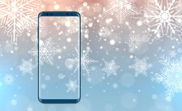 Smartphone over christmas background Royalty Free Stock Image