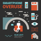 Smartphone Overuse. Illustration of smartphone overuse concept with icons Royalty Free Stock Images