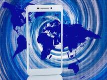 smartphone på abstrakt bakgrund Arkivfoton