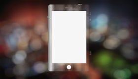 Smartphone på bakgrundsbokehnatten royaltyfri bild