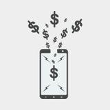 smartphone płaski projekt, seo projekt, dolarowy seo projekt Obrazy Stock
