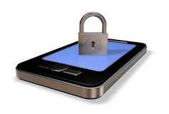 Smartphone and padlock Stock Images