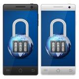 Smartphone padlock Stock Image