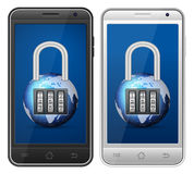 Smartphone padlock Stock Photography