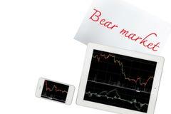 Smartphone, Papier mit Baissemarkttext und -tablette mit Diagramm ist lizenzfreie stockfotos