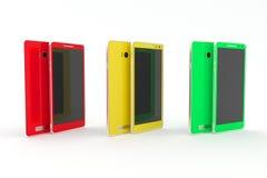 Smartphone, pastylka zielony czerwony kolor żółty Biały tło fotografia royalty free