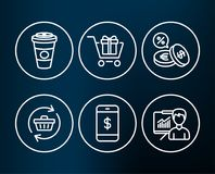Smartphone payment, Currency exchange and Shopping cart icons. Stock Image