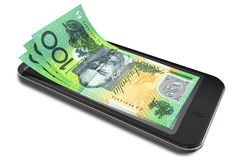 Smartphone Payments With Australian Dollars. Generic smart phone with digital on screen money changing into real australian dollar banknotes signifying cell stock photos