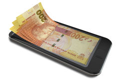 Smartphone Payments With Rands Stock Photography