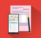 Smartphone pen document invoice. Smartphone pen document payment financial item icon. Invoice design, vector illustration Stock Photos