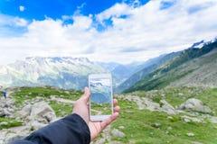 Smartphone photo of Aiguile de Mont Blanc Stock Photo